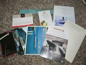 Cunard-Queen-Elizabeth-2-Queen-Mary-2-Ephemera-Lot-Menu-Postcards