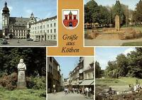 06366 Köthen / Anhalt  -  Markt mit Rathaus - Bachdenkmal - Boulevard - Wappen