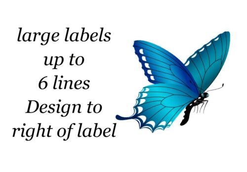 Blue Butterfly Small or Large Sticky White Paper Stickers Labels NEW