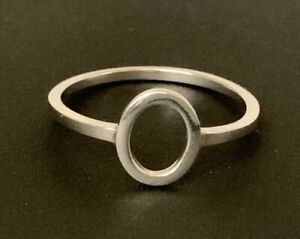 Genuine-925-Sterling-Silver-Circle-Ring-Stackable-Geometric-Open-Oval-6-7-8-9