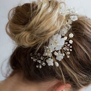 Wedding-Bridal-Handmade-Flower-Hair-Comb-White-Pearl-Bead-Hair-Piece-Headdress