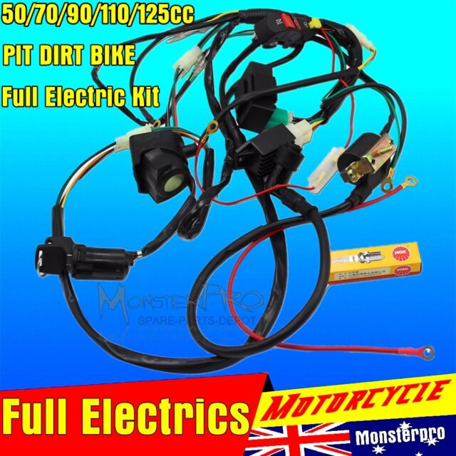 Motorcycle ELectrics Wiring Harness Loom Solenoid Coil 50cc Dirt Pit Bike TDR