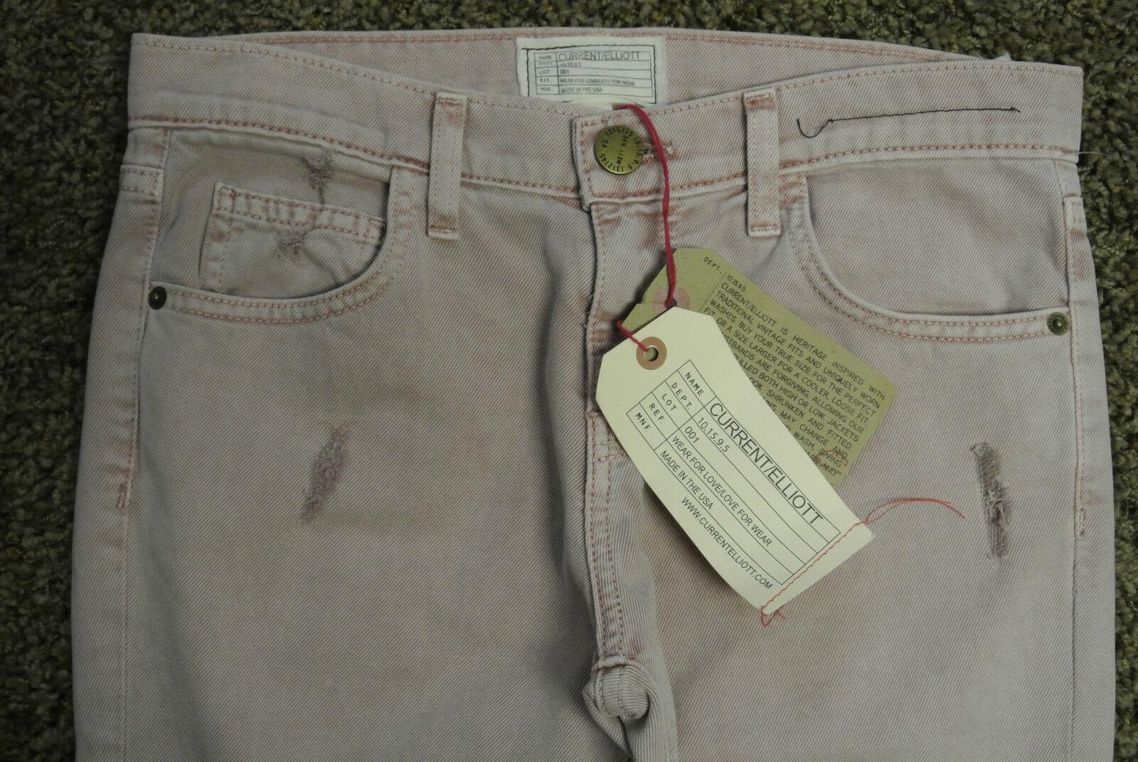 Anthropologie CURRENT ELLIOTT The Skinny Boy pink Smoke Jeans 24 NWT Celebs