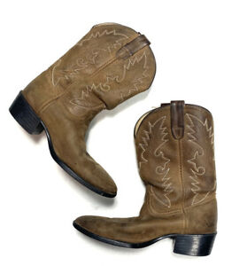 Dan-Post-Youth-Boys-or-Girls-Brown-Leather-Cowboy-Boots-Mid-Calf-Western-Wear
