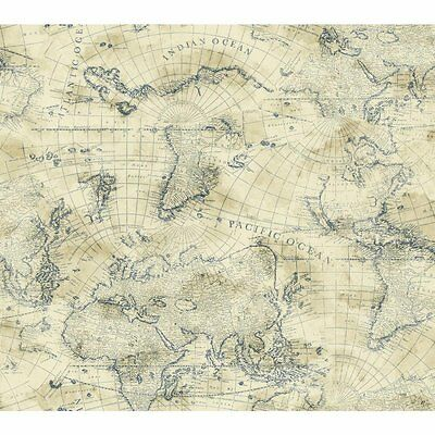 Nautical Blue World Map On Cream Sure Strip Wallpaper Ny4837 Ebay