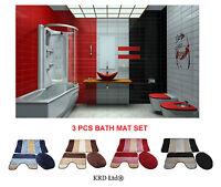 Elegant 3 Pieces Anti Slip Bath Mat 3Pcs Set Toilet Cover Rug Stripe Design Mats
