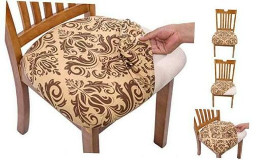 Comqualife Stretch Printed Dining Chair Seat Covers Removable Washable 4 Gold