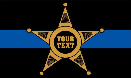 5 Point Star GOLD Custom Text Window Decal Thin Blue Line Decal Sizes Var
