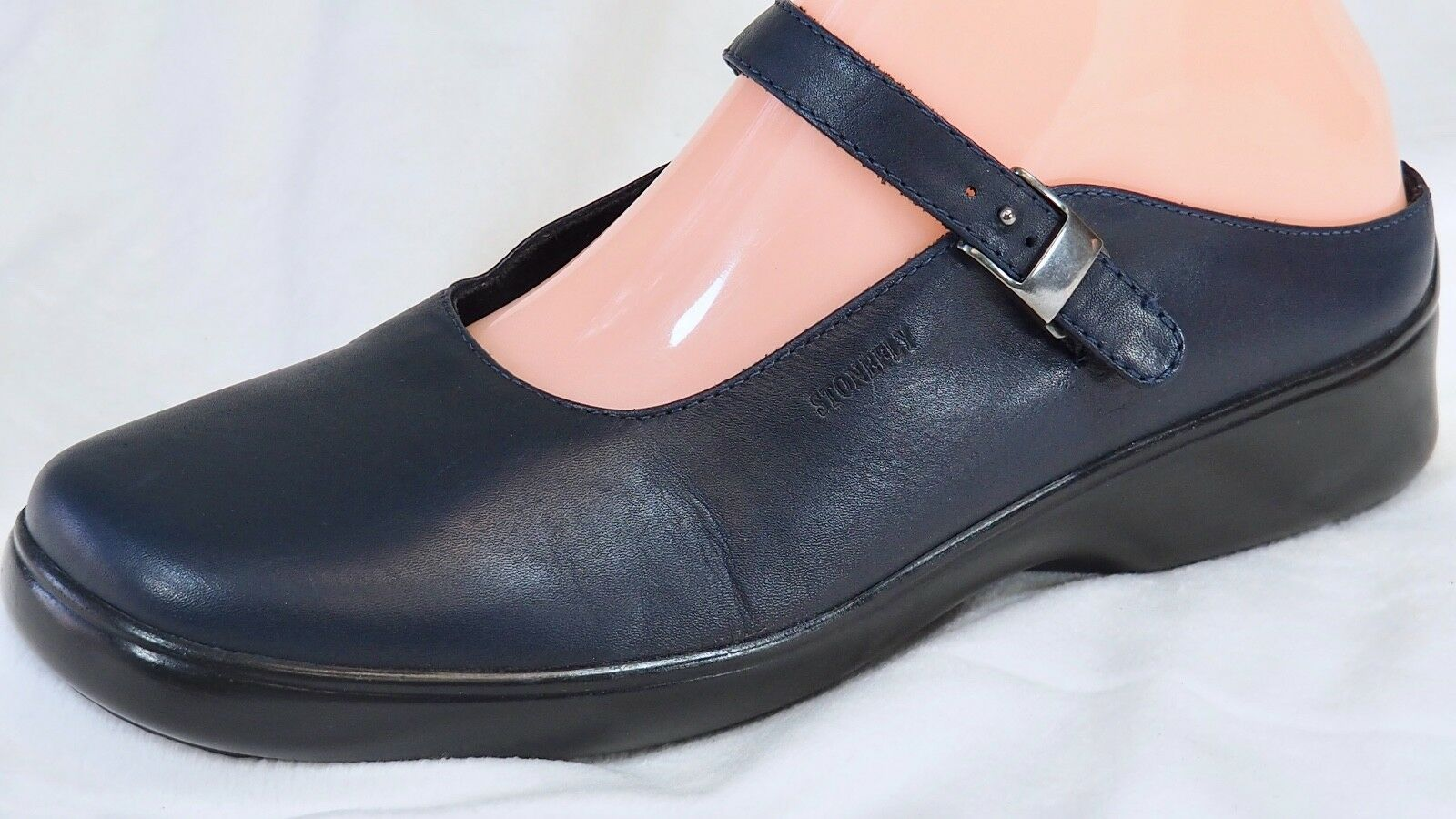 STONEFLY Absolute Comfort Leather Mary Jane shoes Navy bluee 7.5   38