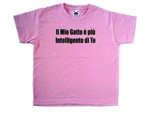 Il-Mio-Gatto-e-piu-Intelligente-Maglietta-Bambino-Rosa