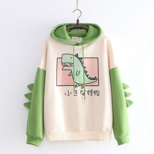 Sweet Cute Dinosaur Mori Girl Japanese Loose Pullover Hoodies Coats Harajuku
