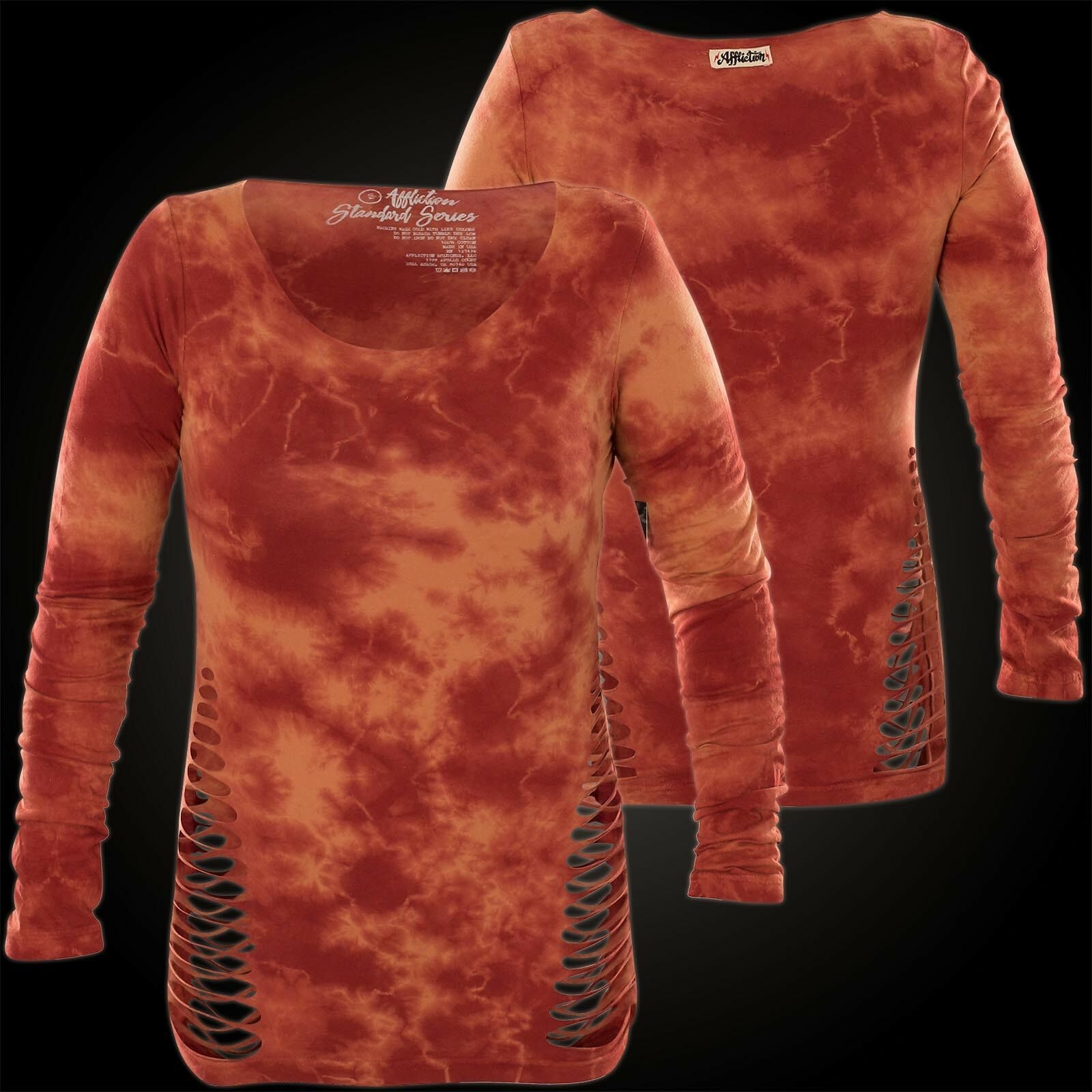aa2ecc760 Affliction Woman Woman Woman Long Sleeve Raglan Standard Supply orange  954e43