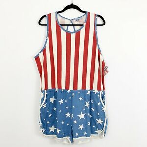 5d2d80ffea9d NEW Junk Food Womens Stars   Stripes Romper Red White Blue Patriotic ...