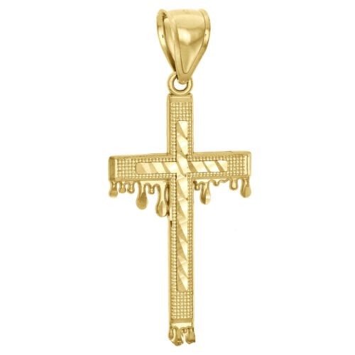 "Details about  /10K Yellow Gold Diamond Cut Raised Nugget Cross Pendant Blood Drip Charm 2/"""