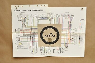 vtg 1986 yamaha fz600 s fz600 sc factory color schematic wire wiring diagram  | ebay  ebay