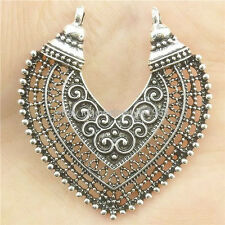 17366*6PCS Hollow Love Heart Filigree Pendant Connector Tibetan Silver