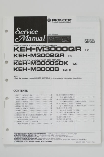 Pioneer Keh M3002qr Original Service Manual