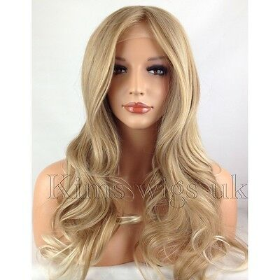 BLONDE TIPPED HEAT RESISTANT LONG WOMANS LADIES WAVY LACE FRONT HAIR WIG KW34