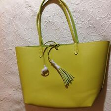 NWOT 'MSW Mainstreet' Lime Green Yellow Reversible Faux Leather Purse Tote
