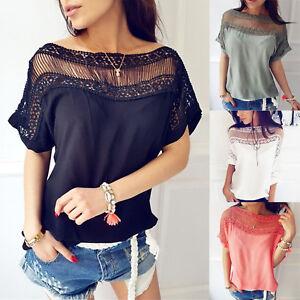 Damen-Freizeit-Kurzarmshirt-Bluse-Schulterfrei-Oberteile-T-Shirt-Tunika-Hemd-Top