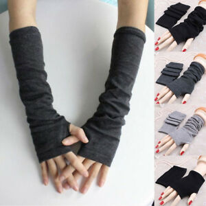 AC/_ EG/_ Ladies Fingerless Gloves Winter Wrist Arm Warmer Women Long Knit Mitten
