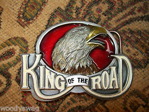 King-Of-The-Road-Belt-Buckle-nos-Eagle-England-Motorcycle-Metal