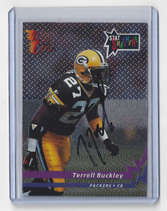 1992-PACKERS-Terell-Buckley-signed-STAT-Smashers-card-Wild-Card-AUTO-Green-Bay