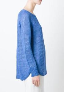 Linen Open Nwt New Sweater Ralph Blue Oversize Women145 About Lauren Knit Azure Polo Details Onm80wyNv