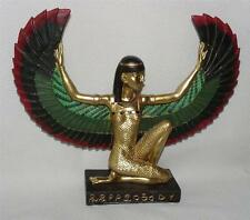 ISIS GOLDEN ANCIENT EGYPTIAN WINGED GODDESS FIGURINE BLACK BASE HIEROGLYPHICS 7""