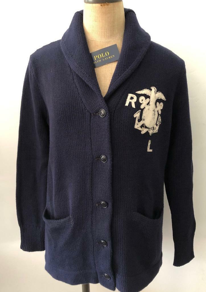 Polo Ralph Lauren S  Mujer Nuevo Con Etiquetas  198 Azul Marino Suéter Ancla Cochedi Algodón Varsity Nuevo  Seleccione de las marcas más nuevas como
