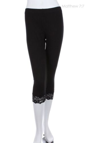Ladies Cropped 3//4 Leggings With Lace Trims White Black Brown Nude 10-20