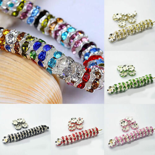 100Pcs Silver Plated Charm Crystal Rhinestone Spacer Beads Findings 6//8MM