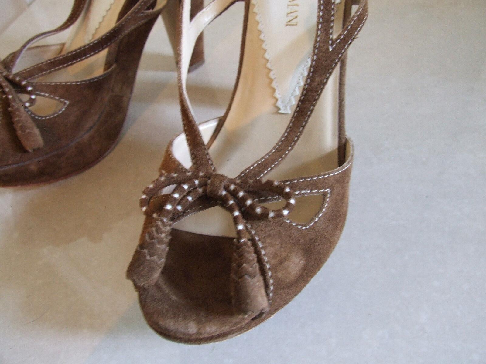 Giorgio Armani Classic Braun Suede High Heels 5 Slingback Stiletto Sandales Schuhes 5 Heels 2a1bd6
