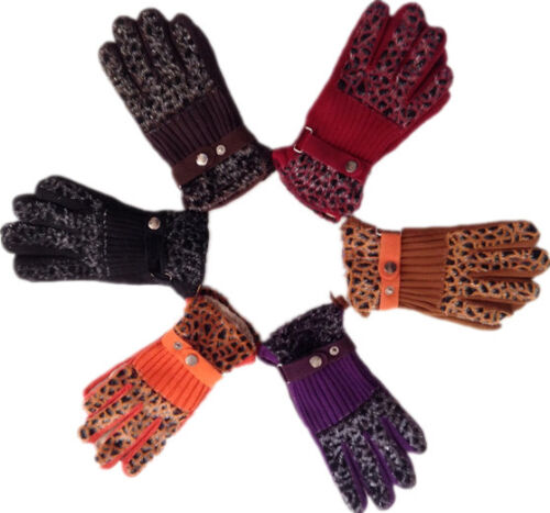 BLACK ORNAGE RED PURPLE LADIES GIRLS WINTER WARM THERMAL KNITTED MAGIC GLOVES