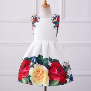 6ec7f9d2a US STOCK Girls Kids Dress Rose Flower Princess Birthday Party dress ...