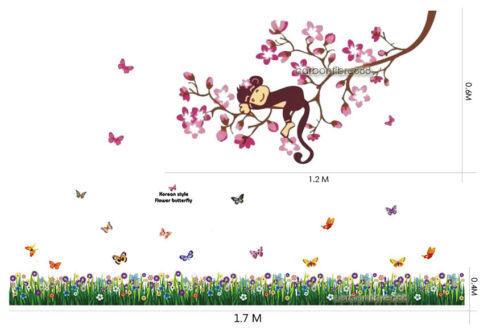 HUGE Monkey Branches Flower Butterflies Grass Wall Stickers Art Home Decal Kids