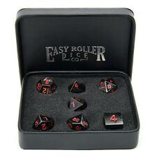 Easy Roller - 16mm Gun Metal RPG Polyhedral Dice (Set of 7) - Red Numbering