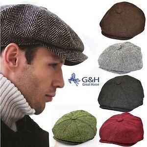G H Herringbone 8 Panel Hat Newsboy Peaky Flat Cap Gatsby Mens Women ... 5ccfc975931