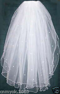 Ivory-or-White-Beads-2-Tier-Wedding-Bridal-Veil-With-Comb-Pencil-Edge-Hot-Sell