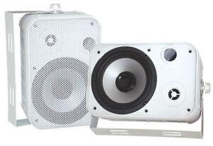 Pair-New-Pyle-PDWR50W-6-5-034-Indoor-Outdoor-Waterproof-Speakers-White