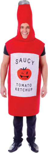 Hen Stag Do Fancy Dress Night Party Saucy Tomato Ketchup Bottle Outfit UK