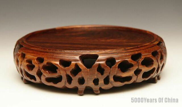 "3.3"" - 6.2"" Nice Hollow-Carved Circular Display Red Sandal Wooden Stand #RC-1314"