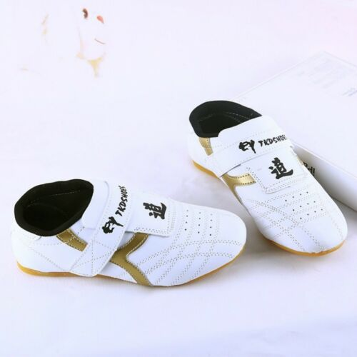 Children Men PU Taekwondo Shoes Martial Art Chinese Kung Fu White Soft Cosy Kids