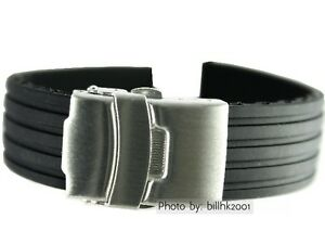 Black-Rubber-18mm-Sport-Diver-watch-band-with-S-S-strap