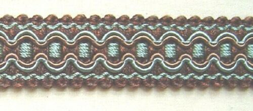 "3//4/"" Braid 3 YDS Brown and Aqua Blue Match Bullion Fringe tassel Fringe Gimp"