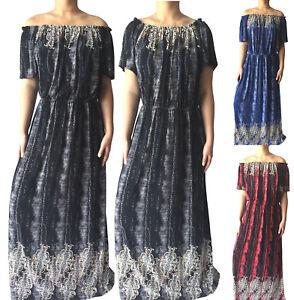 Plus-Size-Women-Long-Maxi-Summer-Beach-Off-The-Shoulder-Evening-Floral-Sundress