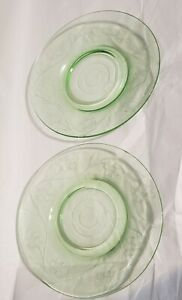 3 Depression Glass Floral Etch  Engraved Saucers Plates