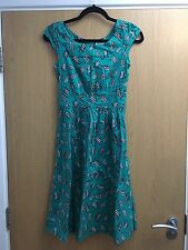 Emily & Fin Women's Vintage 50s Rachel Dress Green Deckchair Print Size 8/XS