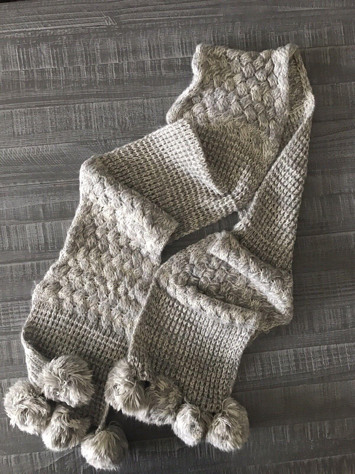 Women Claire Grey Knit Scarf Long Pom Pom Shawl  - image 3