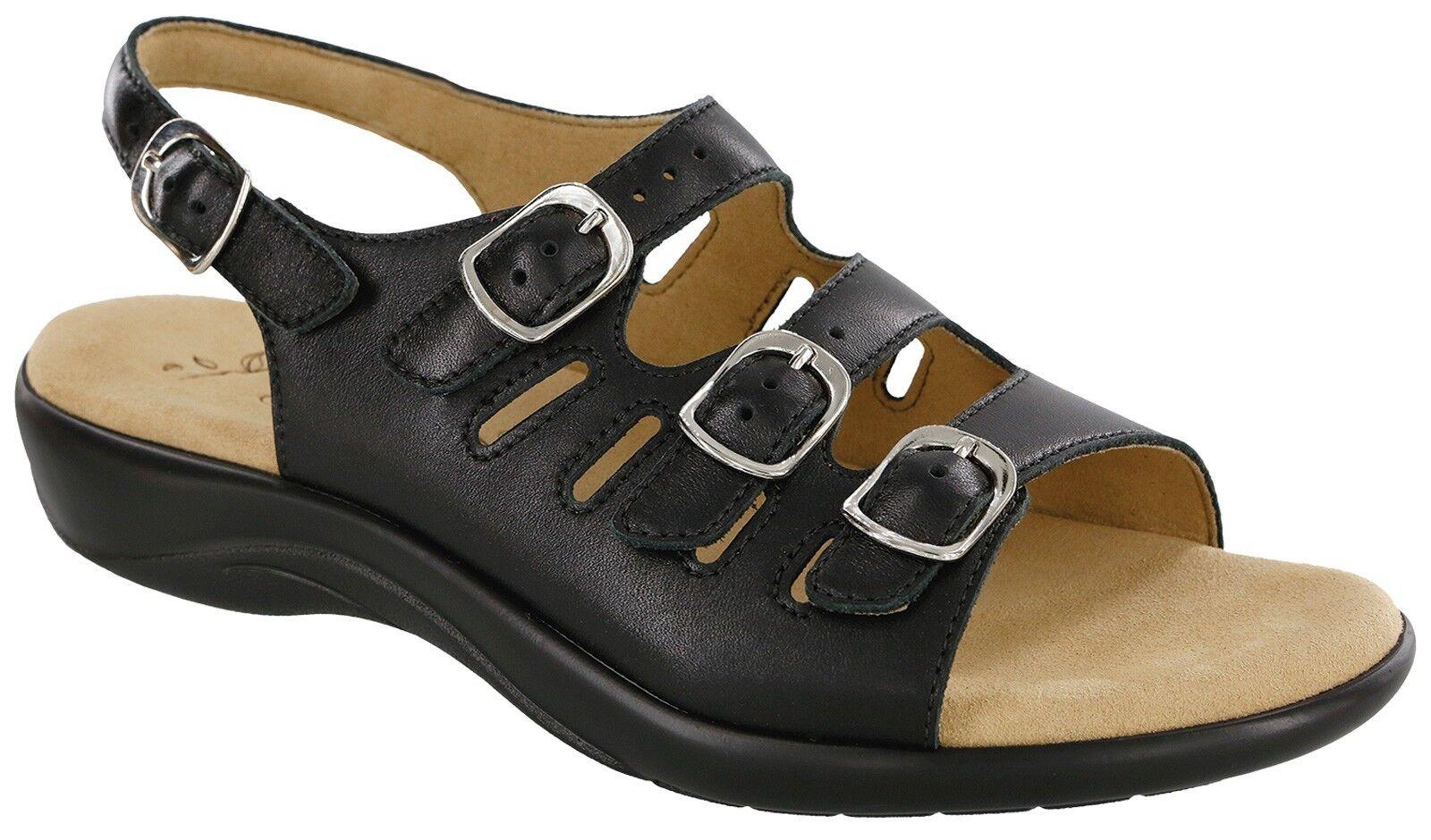 SAS MYSTIC Womens Black 3110 013 Leather Shoes Comfort Adjustable Strap Sandals Shoes Leather deca33